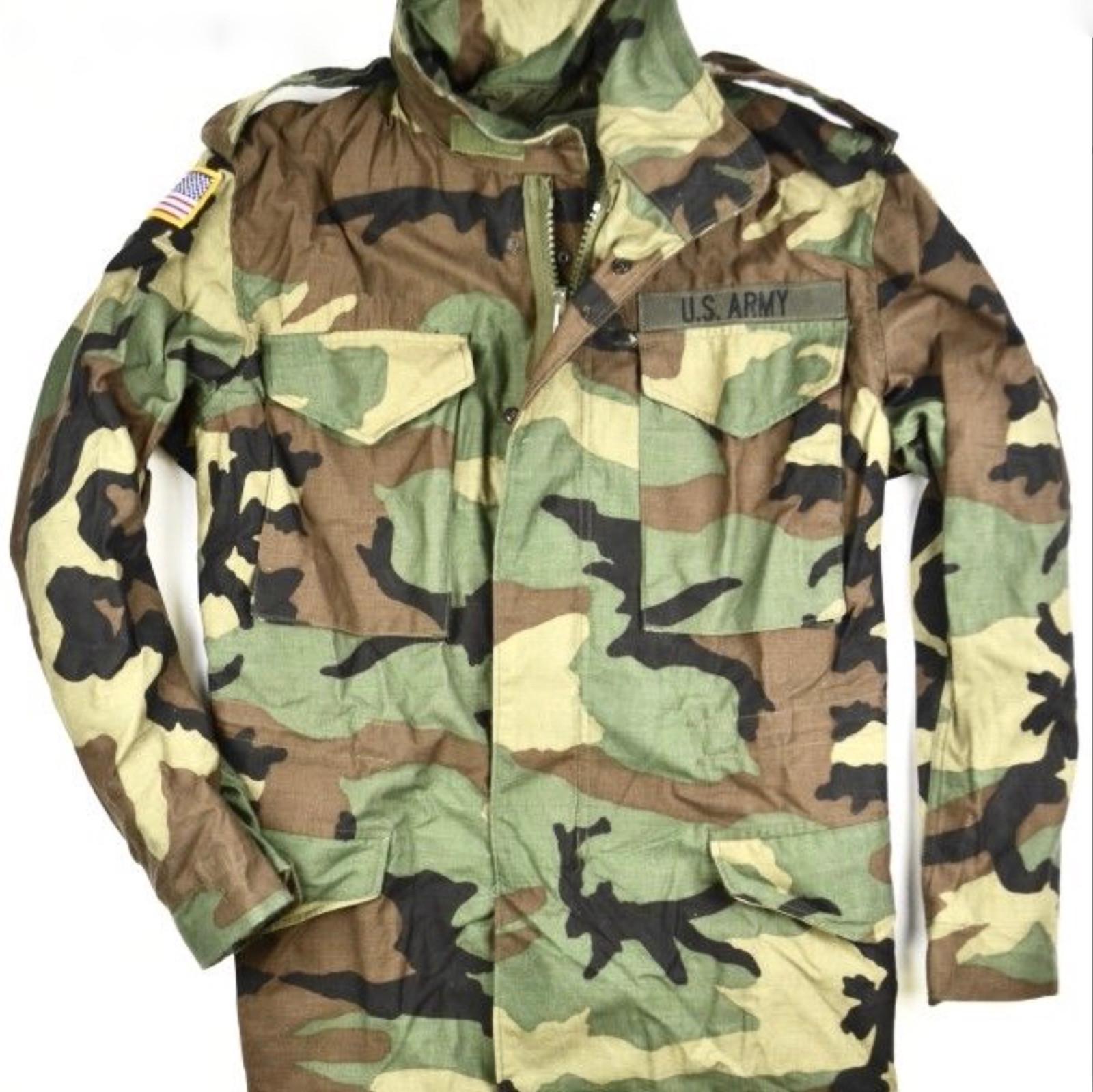 USGI M-65 Field Jacket Medium Short Woodland Camo BDU Cold Weather Army Coat
